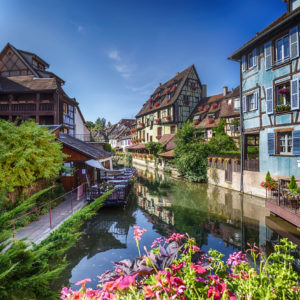 "summer panorama in colmar, named "" little venice"". alsace region in france"