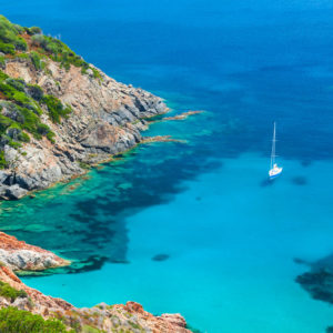 coastal summer landscape of south corsica, yachts moored